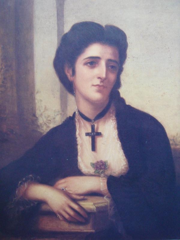 Η Υπατία (1843-1870), κόρη του Ιωάννη Σκυλίτση και σύζυγος του Θεοδώρου Σκυλίτση, αγνώστου, λάδι σε καμβά, Βιβλιοθήκη Κοραή