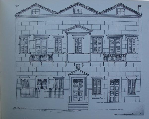 Σκαρίφημα της όψης της οικία Δρομοκαΐτη στο Βουνάκι