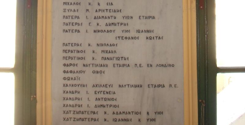 Ευεργέτες και Δωρητές των Σχολείων της Χίου (λεπτομέρεια επιγραφής)