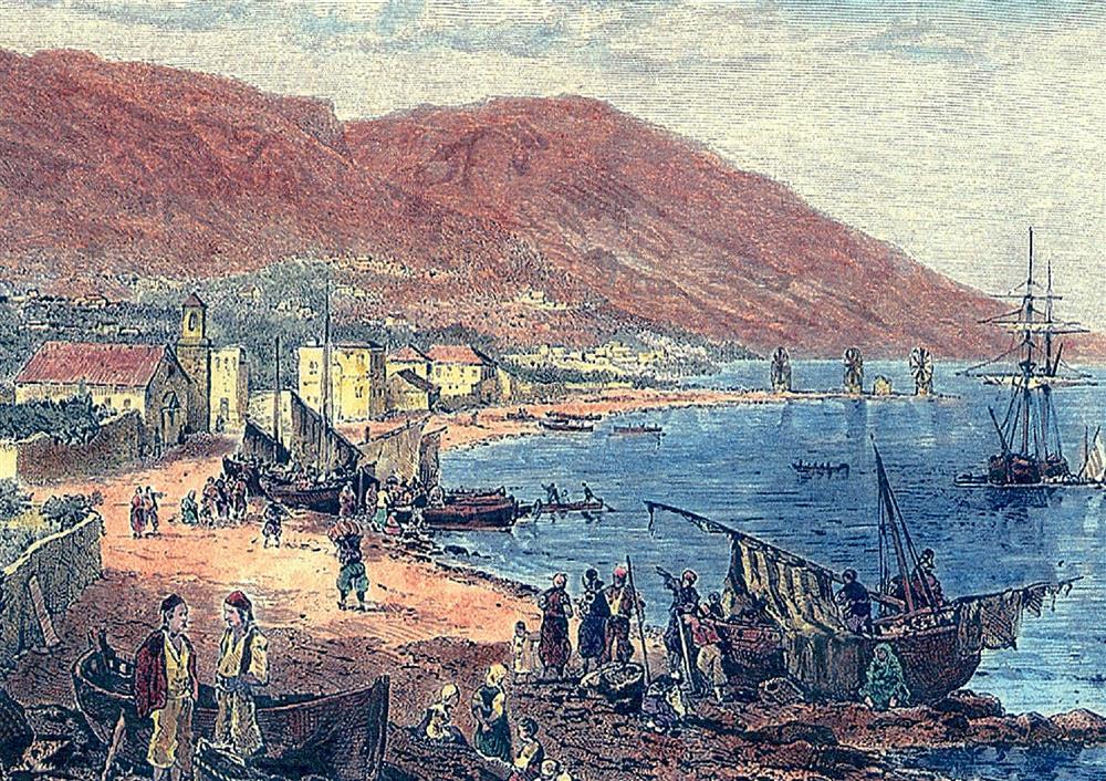 Επιχρωματισμένη ξυλογραφία που απεικονίζει τα Λιβάδια και το Βροντάδο, από τη σημερινή συνοικία της Αγίας Παρασκευής. Στο βάθος, δεξιά, οι ανεμόμυλοι της παραλίας. ΠΗΓΗ: Τα χαρακτικά της Χίου, Τ. Β΄