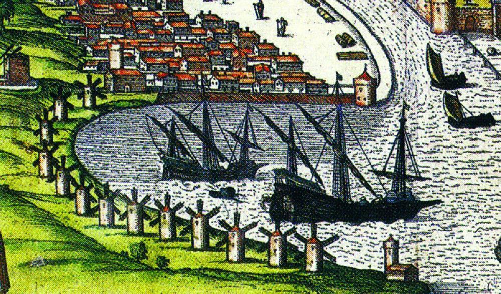 1598: λεπτομέρεια επιχρωματισμένου χαρακτικού που απεικονίζει το λιμάνι της Χίου με σειρά ανεμόμυλων. ΠΗΓΗ: Τα χαρακτικά της Χίου, Τ. Β΄