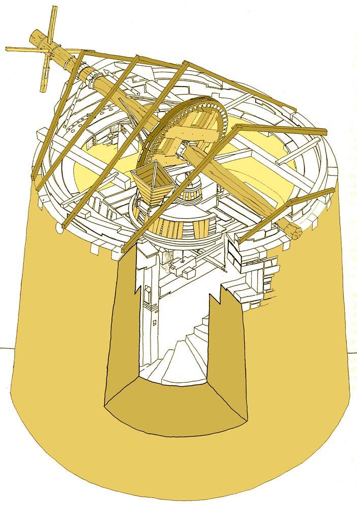 Aξονομετρικό σχέδιο του ανεμόμυλου Ανδρεάδη στο Νεχώρι της Χίου (ΠΗΓΗ: Βουρνούς Μ., Αρχιτεκτονική κληρονομιά της Χίου. Οκτώ περιπτώσεις καταγραφής)