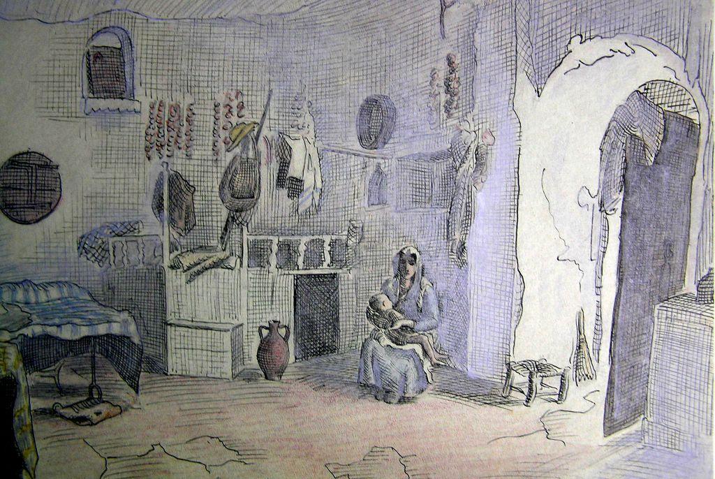 1929. Σχέδιο του Δ. Πικιώνη που απεικονίζει εσωτερικό σάλας στο Πυργί με νεαρή μητέρα και το μωρό της