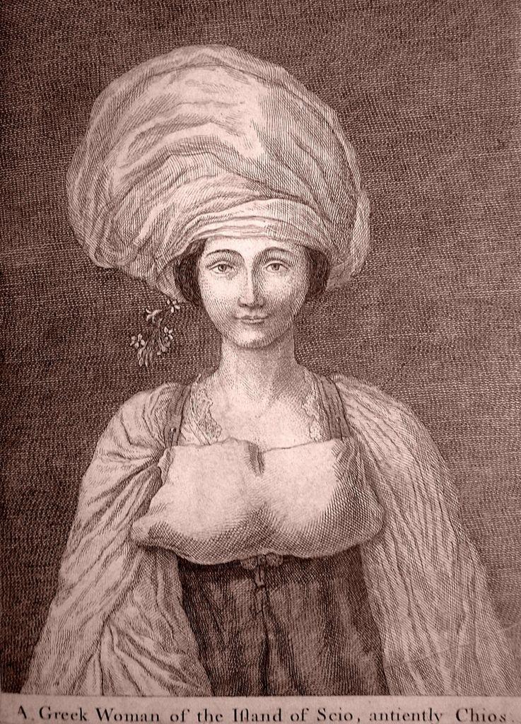Μια Χιώτισσα στα 1753, σε χαλκογραφία του R. Dalton. Φακιόλι, στηθόπανο στο μπούστο, μανίκια με πολλές πτυχώσεις. Αφράδα, γοητεία και τσαχπινιά μαζί: οι περισσότερες περιγραφές των περιηγητών συμφωνούν με την εικόνα αυτή.