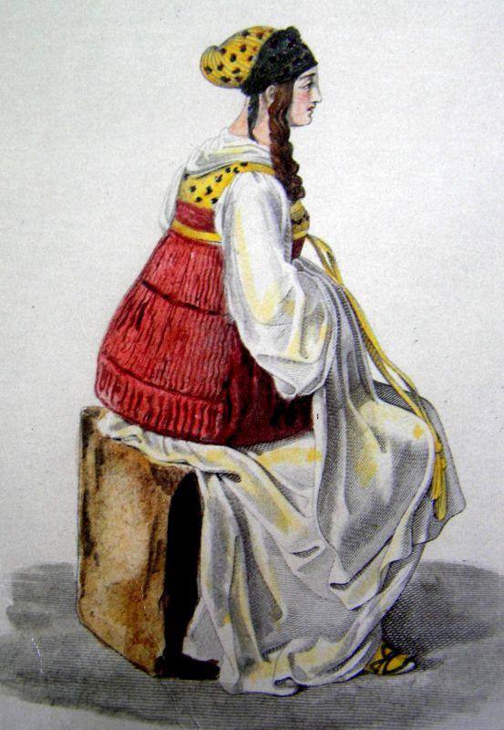 Αστή της εποχής (1811) σε λιθογραφία του O. Stackelberg. Με το τσεμπέρι της, το μπολερό, την ατλάζινη μπροστέλα, τη μακριά πτυχωμένη φούστα της. Με τη σιγουριά που της έδινε η τάξη της, η ισχύς του κύρη ή του άντρα της.