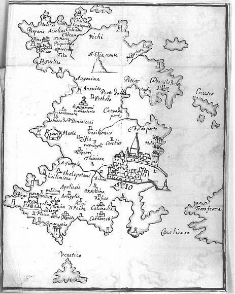 Χάρτης της Χίου στο χειρόγραφο