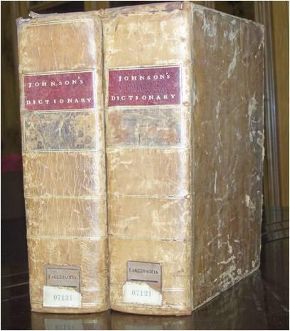 Το λεξικό του Johnson στη Βιβλιοθήκη Κοραής. Έκδοση 1773