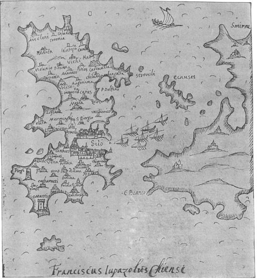 Εικ. 4. Χάρτης της Χίου στο Isolario του Lupazzolo