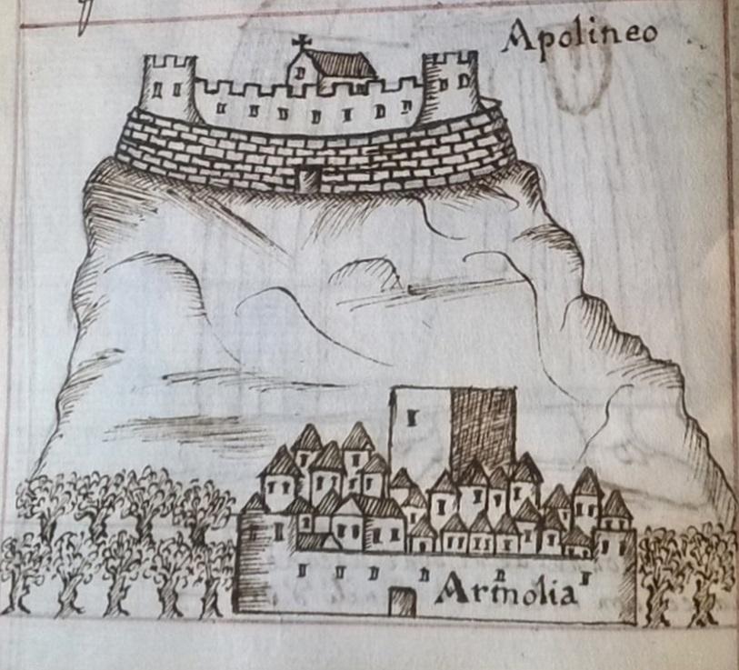 Εικ. 5. Το κάστρο των Απολίχνων και ο τειχισμένος οικισμός των Αρμολίων