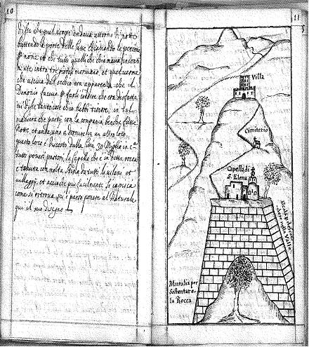 Εικ. 7. Η σελίδα 10 του χειρογράφου και η εικόνα στη σελίδα 11 με το σχέδιο του ναού στο Άγ. Γάλα