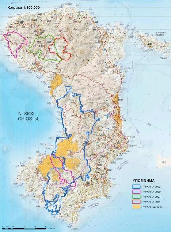 Αποτύπωση πυρκαγιών στην Π.Ε. Χίου από το 2000 (Πηγή υποβάθρου: Ψηφιακός χάρτης Χίος-Ψαρά-Οινούσσες, 2014, Ανάβαση. Επεξεργασία: WWF Ελλάς)