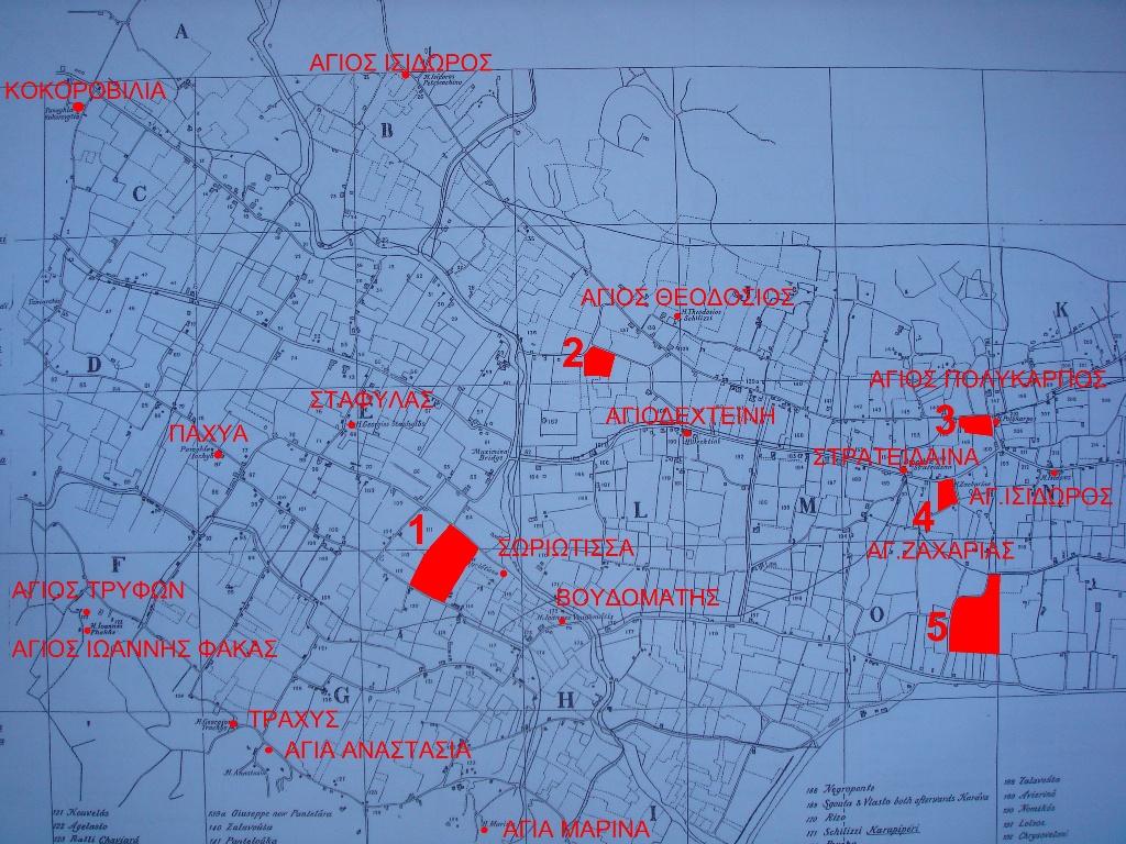 Το τοπογραφικό του Κάμπου του Arnold Smith όπου σημειώνονται οι ιδιοκτησίες των Χρυσοβελόνη